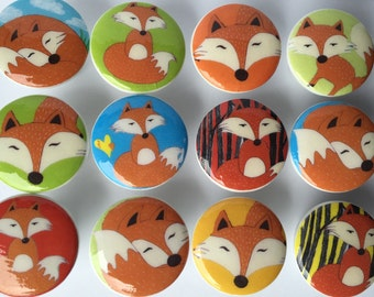 6 dresser pulls wood knobs decorated with red fox images 1 1/2 inch