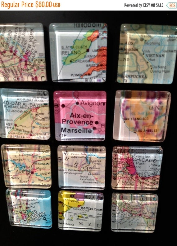 "ON SALE Magnets Glass Fridge Magnets Travel theme destination wedding favors World Maps (set of 12) 1""   Bridal Shower favors"