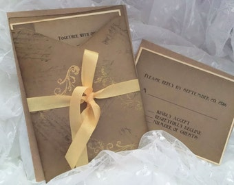 Vintage Inspired / Embossed / aged wedding invitation suite (set of 25)