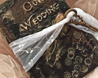 Steampunk Gear Wedding Guest book sign in book (ready to ship)