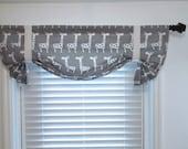 Custom Made Tie Up Curtain VALANCE Storm Grey Giraffe Window Topper Children Nursery Curtains