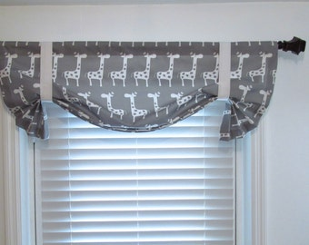Giraffe Tie-Up Lined Valance Storm Grey Curtain Children Nursery Room Decor Custom Sizing Available!