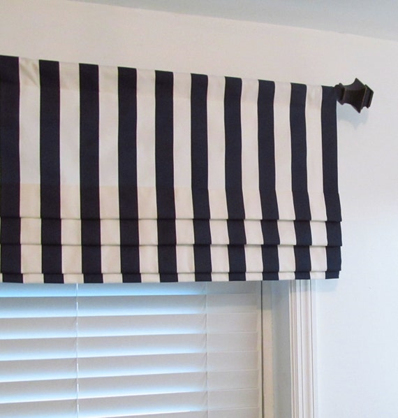 navy blue white striped faux roman shade lined mock valance. Black Bedroom Furniture Sets. Home Design Ideas