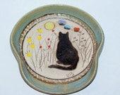 Handmade Stoneware Pottery Cat Spoon Rest