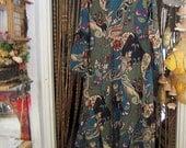 Beautiful Mid-Calf Cotton Dress, Featuring Asymmetrical Hemline and Diagonal Pleats, Vintage - Medium