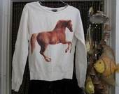 Racing Horse Motif - Long Sleeves White Sweater with Inner Flannel, Vintage - Small