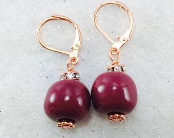 Thanksgiving Earrings, Burgundy Maroon Bead Earrings, Clay Earrings, Kazuri Earrings, Round Beaded Earrings, African Clay Earrings