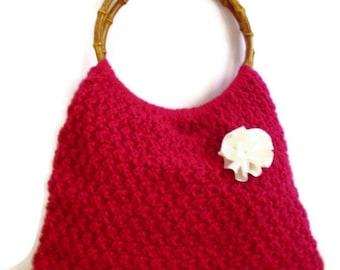 Crochet  Dark Pink Handbag FREE SHIP