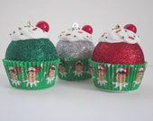 Cupcake Ornaments / Christmas Ornaments / Set of 3