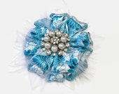 Turquoise Flower Hair Clip, Turquoise & White Hair Clip, Hair Clips, Girl's Hair Clip