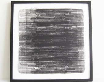 """Enjoy 50% off use SALE50 code at checkout! Etching Print . Abstract. Black and White Home Decor: """"Serial 2"""". Large Print Size 20"""" x 20"""""""