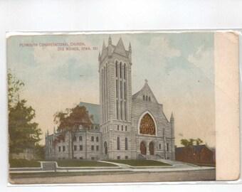 """Iowa, Postcard, """"Plymouth Congregational Church, Des Moines, Iowa,""""  1916, #881."""