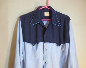 SALE***1940's  Rayon Gabardine Shirt / National Shirt Shop / Two Tone Blue
