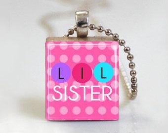 Little Sister Polkadot - Scrabble Tile Pendant - Free Ball Chain Necklace or Key Ring