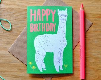Illustrated Alpaca Birthday Card