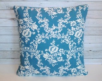 Blue and white floral decorative pillow cover. 1 cushion cover for 20x20 insert. Shabby chic throw pillow cottage chic couch cushion