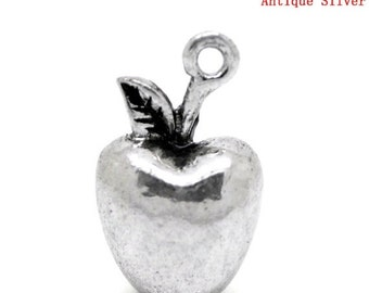 3 Silver Tone 3d APPLE Charm Pendants chs1173