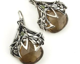 ENMEBAR Unique earrings with smoky quartz