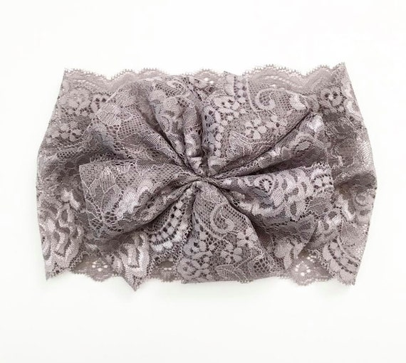 NEW DUSTY GREY Lace Oversized Wrap with Cinched Finished or Bow Finish - stretch head wrap/turban/headband / adult / winter/ fall child baby