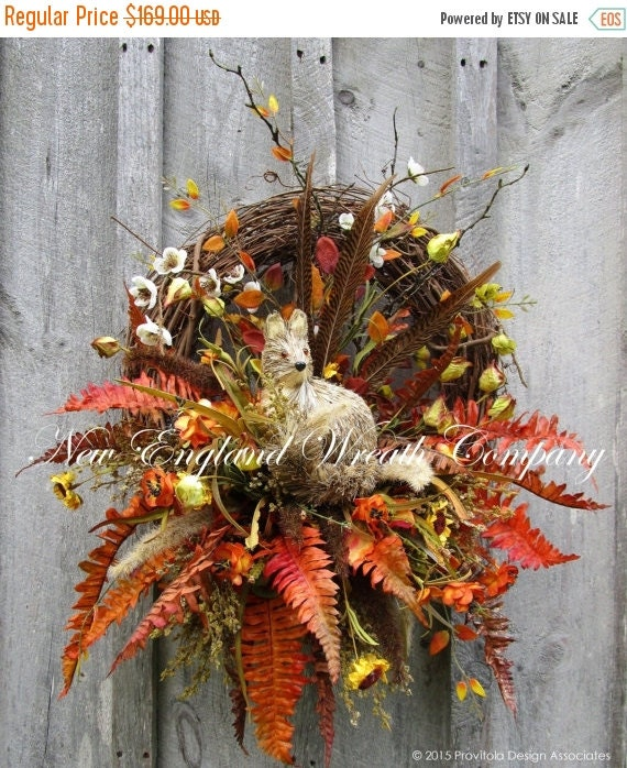 On Sale Fall Wreath Autumn Wreaths By Newenglandwreath On Etsy