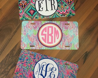 Monogrammed Lilly Inspired License Plates - Pick your font and monogram color