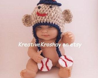 Sock Monkey Hat with Baseball Theme - Newborn - 3 months