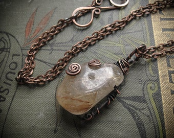 Rutilated Quartz Crystal Elven Wire Wrapped Necklace. Nordi.