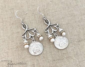 Sterling Silver Dangle Earrings - Silver Angel Earrings - Silver Cherub Earrings - Pearl Dangle Earrings - Handmade Jewelry