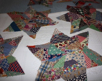 1930's Hand Stitched (with muslin backing) Feedsack Quilt Stars