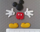 MICKEY mouse MOLD set glove shorts hand ears foot silicone for fondant clay cake decorations soap wax or polymer clay chocolate candy luau