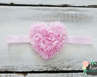 Pink Heart of Roses Infant Toddler Girl Chevron Headband - Shabby Chic - Rosettes - Mini Roses - Special Occasion - Baby Photos - New Baby