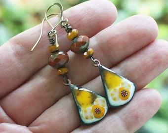 Marigold Enamel Earrings, enamel floral charms, czech bead earrings, enamel jewelry, artisan earrings, brass earwires