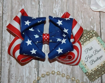 Patriotic 4th of July Hair Bow , flag hair bow , Stars and Stripes Red White and Blue Hair Bow , Beautiful Patriotic Boutique Hair Bow