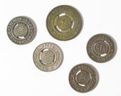 Vintage  Lot of  5 CTA Chicago Transit Authority Tokens, Surface System Tokens, Vintage City Train Tokens, Vintage Bus Tokens  - 1950s
