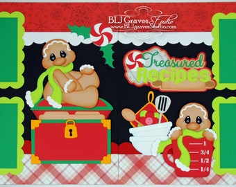 2 Premade Christmas Scrapbook Pages 12x12 Layout Paper Piecing Christmas Treasured Recipes Handmade 2