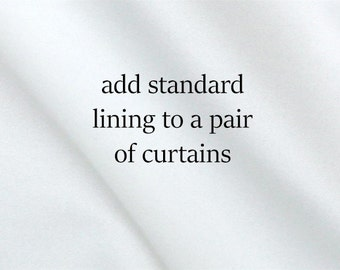 Standard White Lining to Add on Curtains, For a Pair of 2 Panels,  White Window Treatment Drapery Lining, Custom Made Curtain Treatments