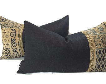 On Sale - Lumbar Pillow Cover Set - 2 piece chenille and black linen pillow covers