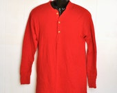 Vintage Red Sleepshirt Duofold Long Henley Sleepwear PJs Womens Unisex Cotton Small to Medium Casual Loungewear