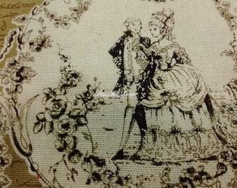 Victorian style couple, beige, fat quarter, pure cotton fabric