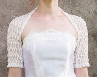 White lace shrug, antique white bridal cover up, lace Bridesmaids bolero, Origami fabric bolero, lace bolero, plus size bridesmaids bolero