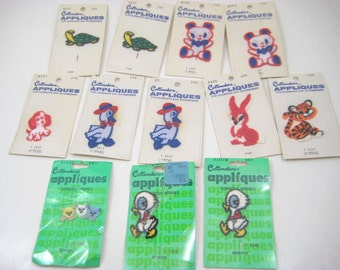 Vintage Costumakers Appliques - Childs Animals - Turtle, Tiger Cub, Rabbit, Duck, Bear, Kittens, Lot of 12, Craft Supply, New in Package