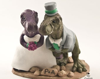 Realistic T-Rex Dinosaur Wedding Cake Topper Custom Bride and Groom