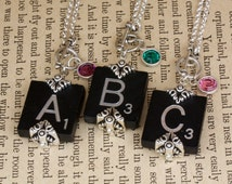 Choice Scrabble Letter Necklace-Choice A B C D E F G H I L N O P Q R S T U V W X Y Z-Black Scrabble Necklace-Birthstone Swarovski Element