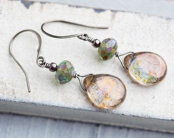 Green Teardrop Earrings, Earth tone, Teardrop Earrings, Boho