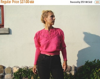 SALE Vintage 80s Pink Lace Sweater