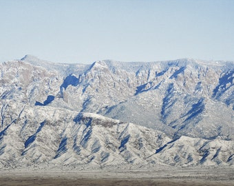 Mountain Photography Print 12X18 Fine Art New Mexico Sandia Mountains Rustic Desert Snow Winter Landscape Photography Print.
