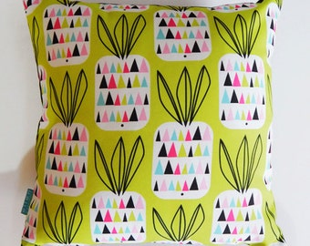 Pineapples on green, pillow cover