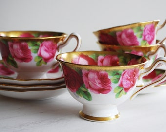 Royal Albert Old English Rose Teacup and Saucer / Set of Four / Vintage Tea Cups