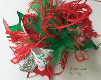 Over The Top Christmas Bow - I want a Hippopotamus for Christmas - red, green and silver glitter, polka dots and ruffles