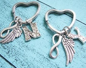 best friend gifts, sister gift, bff gift keychain, best friend keychain, friendship keychain, bridesmaid gift, angel wing infinity keychain